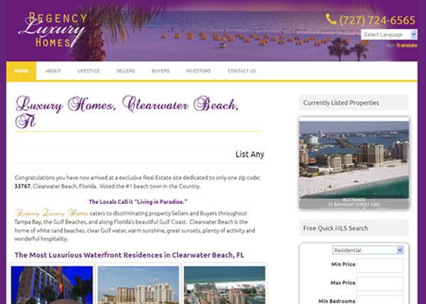 Rengency Luxury Homes Website