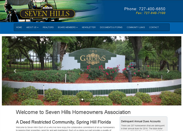 Seven Hills Home Owners Assocation Website