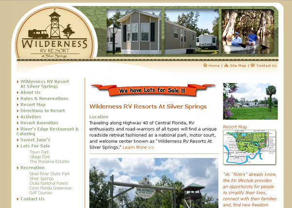 Wilderness RV Park Website